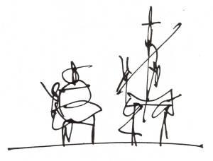Don Quijote y Sancho Panza por Antonio Saura