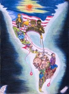 Artista_cesar_cumes_obra_las_huellas_del_imperialismo_yanqui